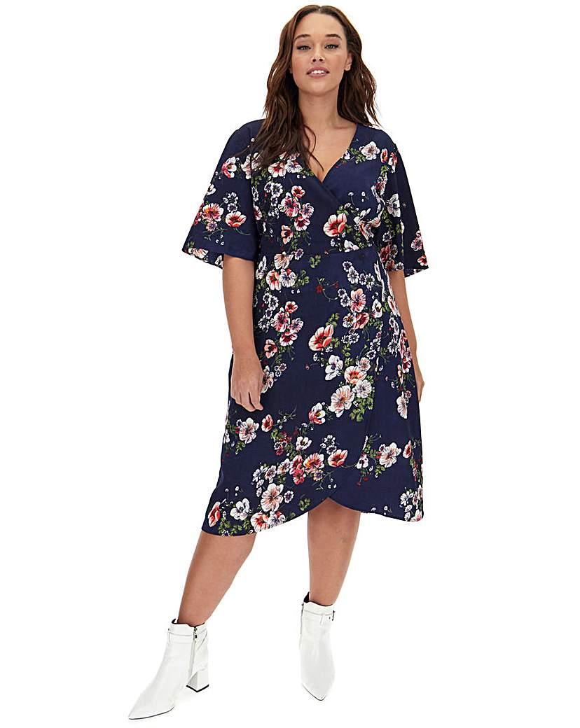 Capsule Navy Floral Kimono Sleeve Wrap Dress