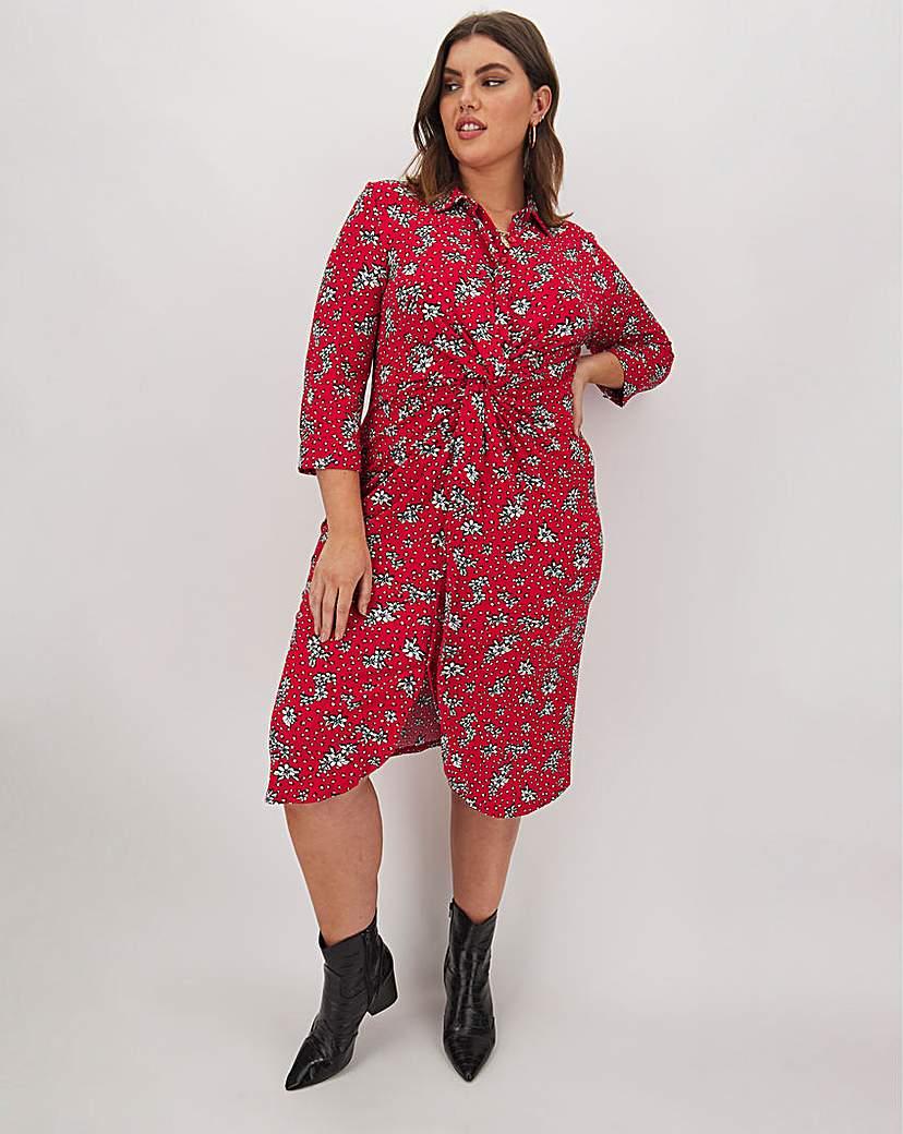 Capsule Floral Twist & Tie Front Shirt Dress