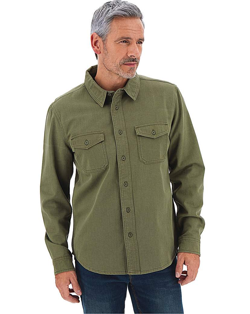 1940s Style Mens Shirts, Sweaters, Vests Khaki Long Sleeve Twill Overshirt Long £30.00 AT vintagedancer.com