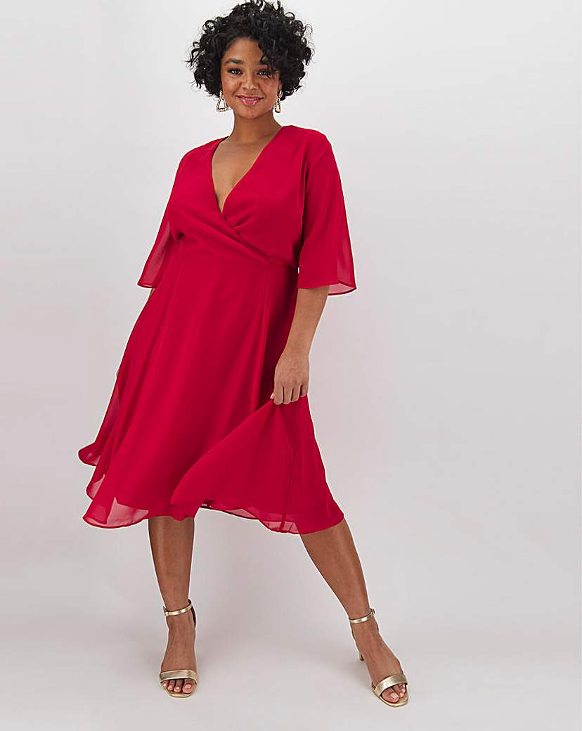 Capsule Dark Red Kimono Sleeve Midi Dress
