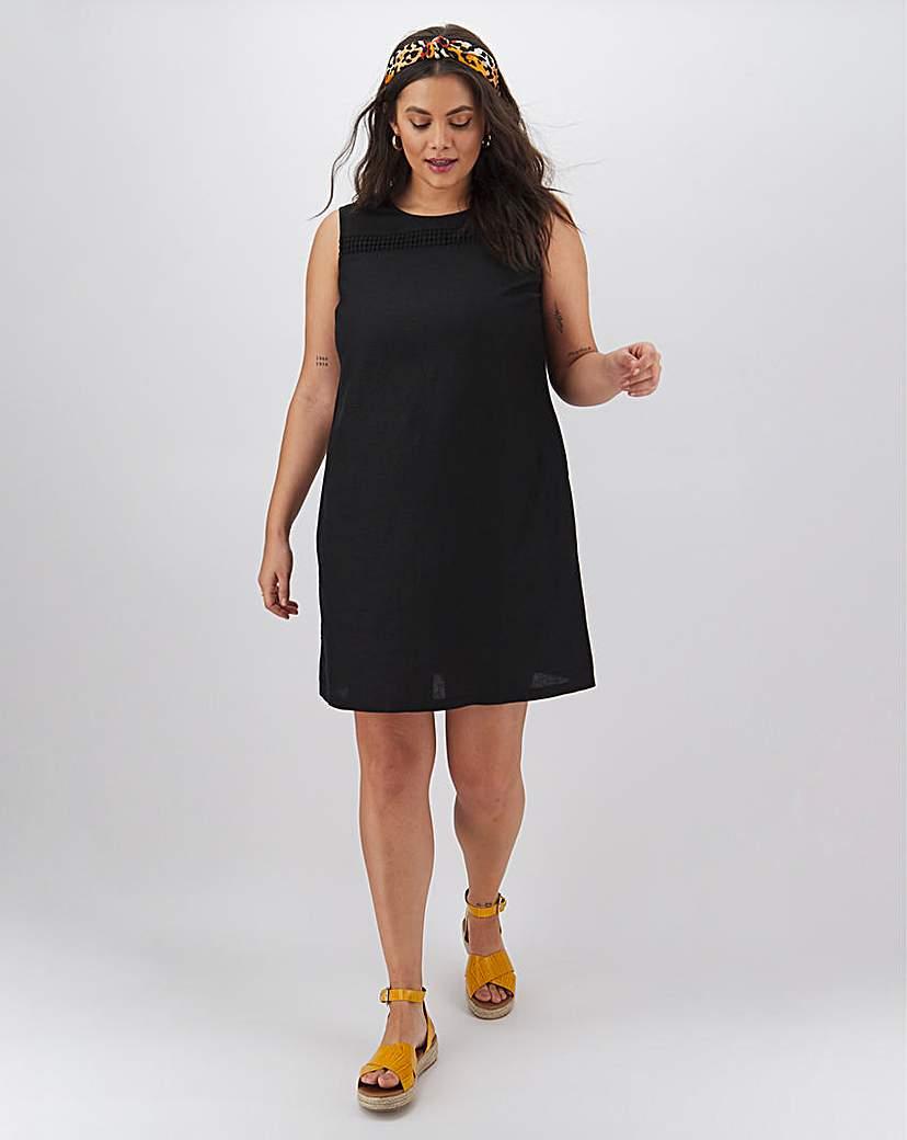 Capsule Black Crochet Trim Linen Shift Dress