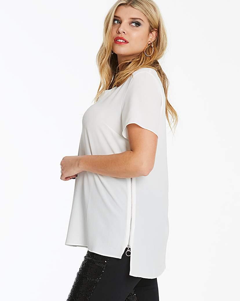 Capsule Ivory V-Neck Side Zip Tunic