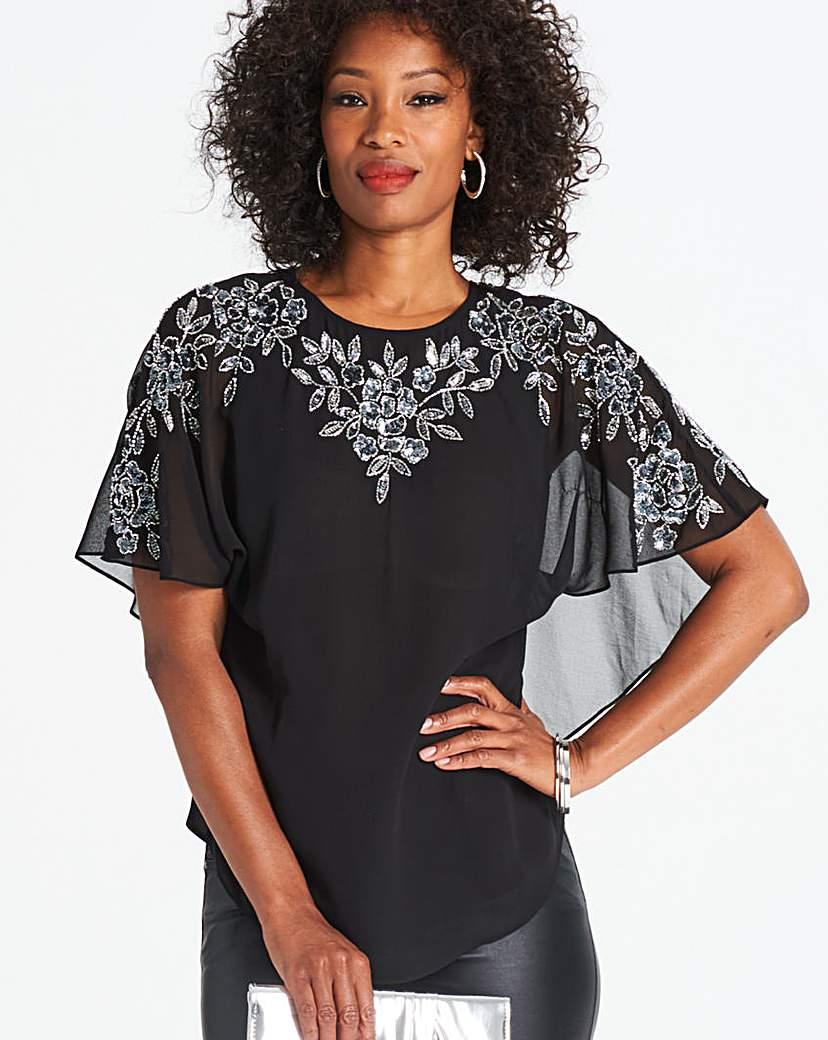 Black Embellished Cape Sleeve Blouse