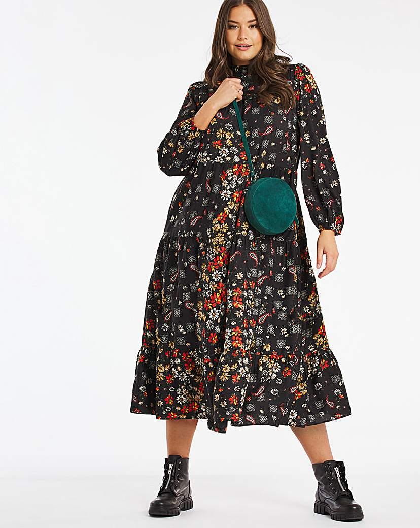 Cassidy Floral Print Tiered Midi Dress
