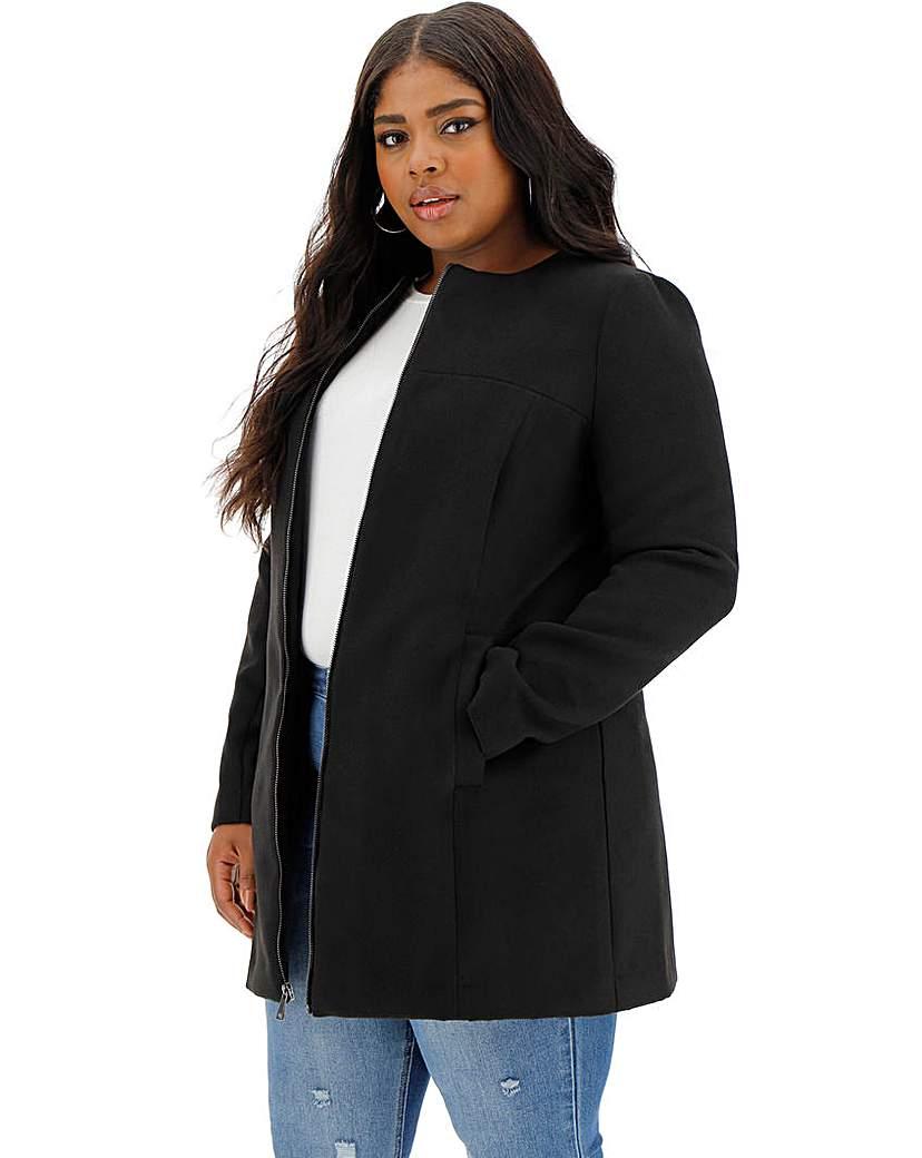Capsule Black Collarless Zip Front Coat