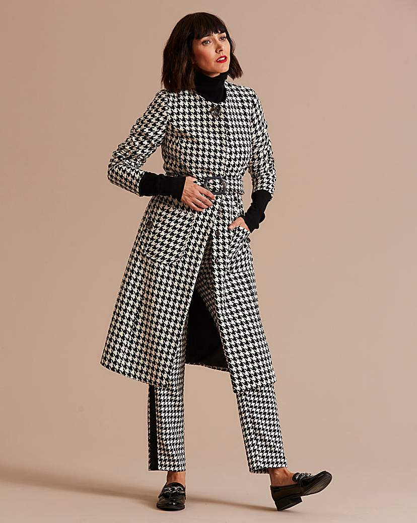 Vintage Coats & Jackets | Retro Coats and Jackets Longline Dogtooth Collarless Belted Coat £75.00 AT vintagedancer.com