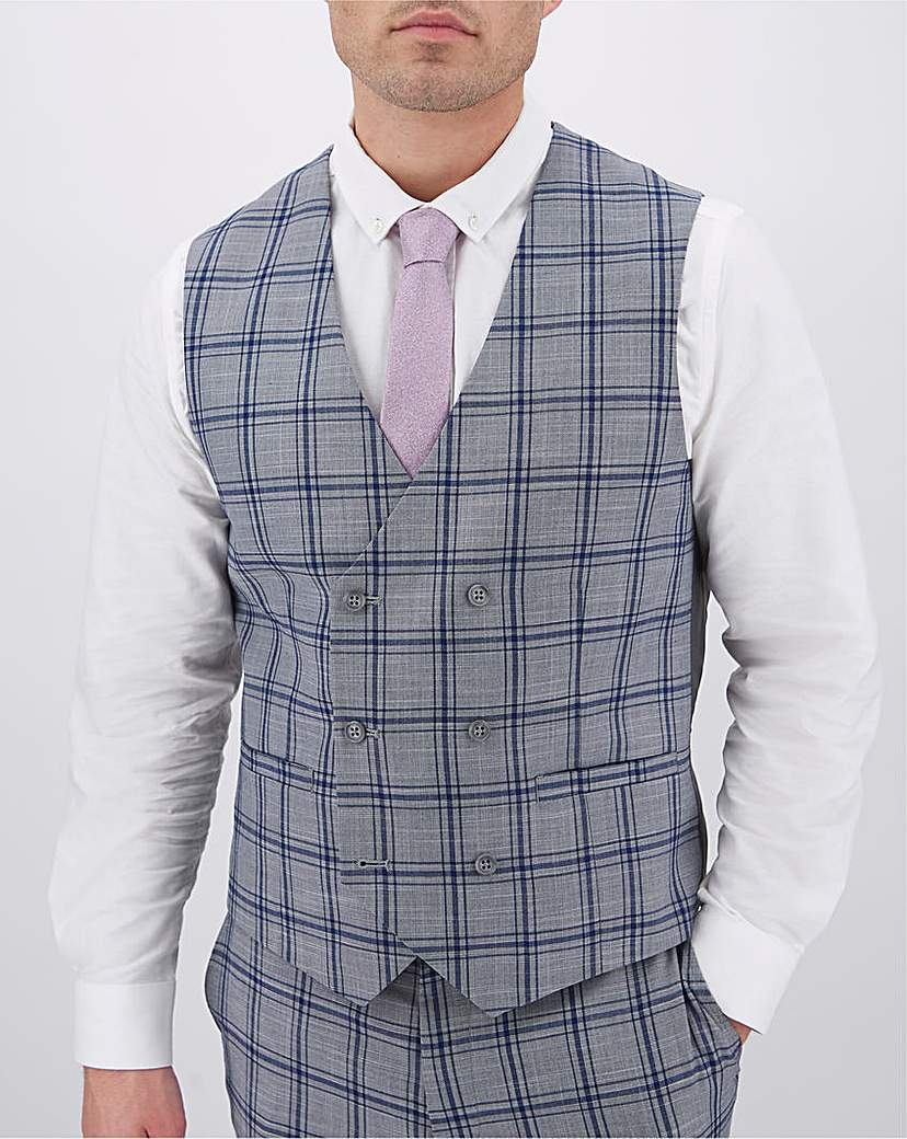 1920s Style Mens Vests Check Maurice Double Breasted Waistcoat £18.00 AT vintagedancer.com