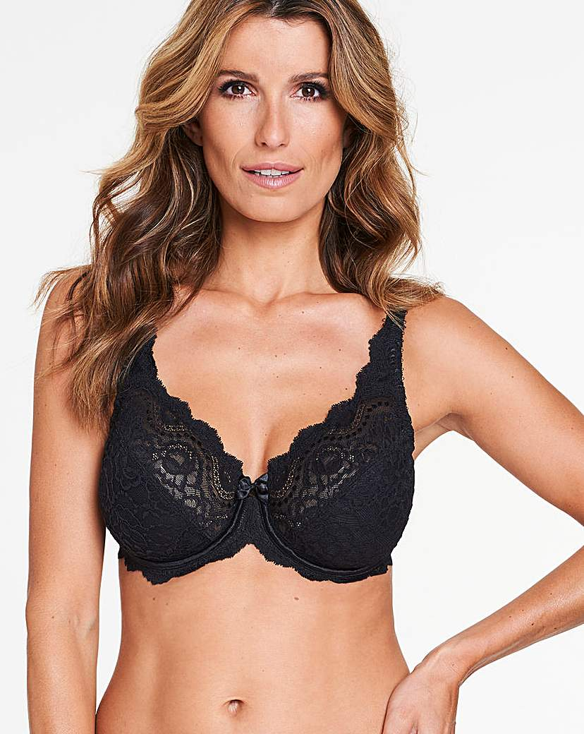 Image of Playtex Flower Lace Black Wired Bra