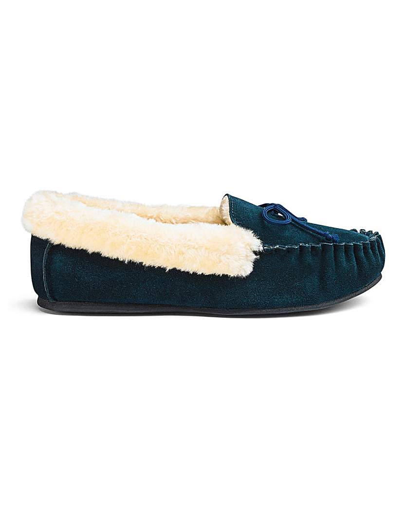 JD Williams Suede Moccasin Slippers EEE Fit