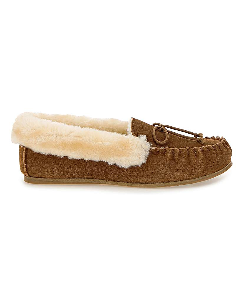 JD Williams Suede Moccasin Slippers E Fit