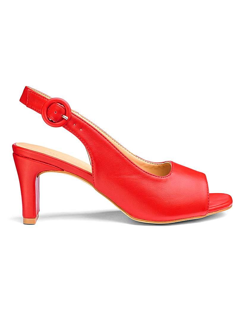 JD Williams Square Heel Peep Toe Shoes EEE Fit