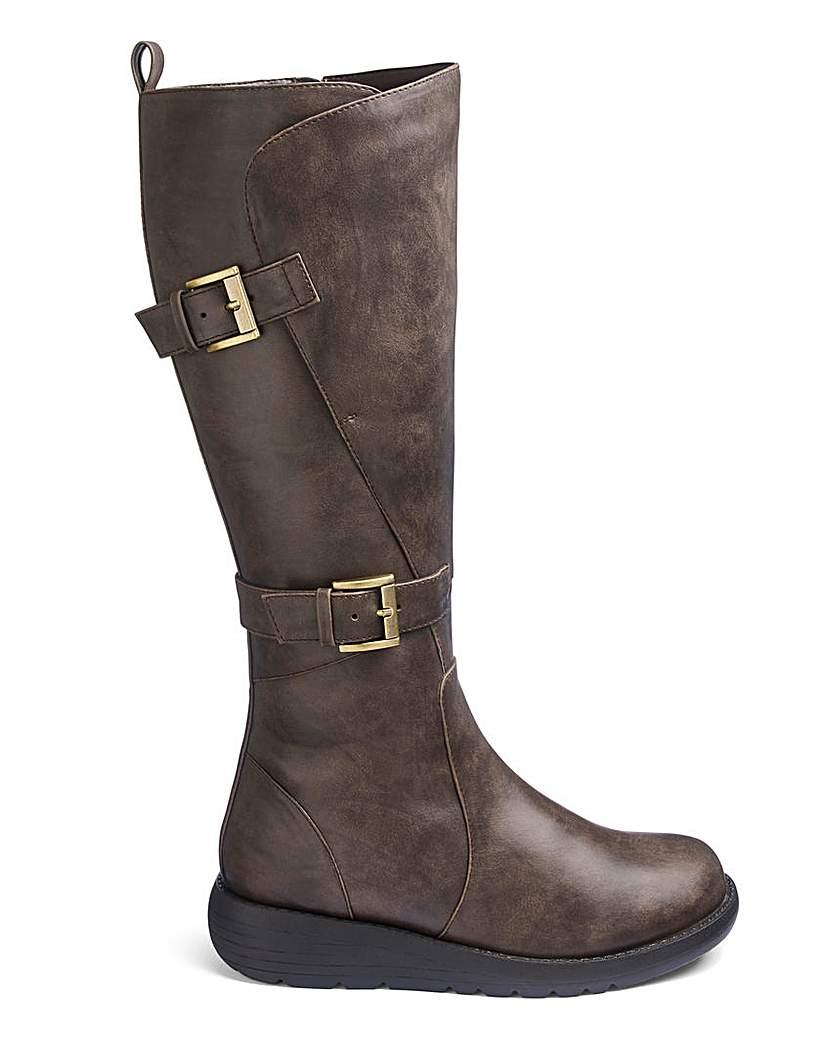 JD Williams Double Buckle Boots EEE Standard Calf