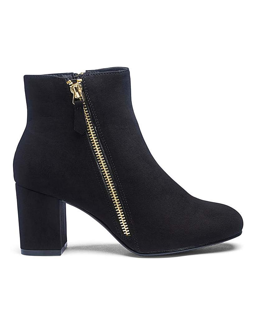 JDW Twin Zip Detail Ankle Boots E Fit