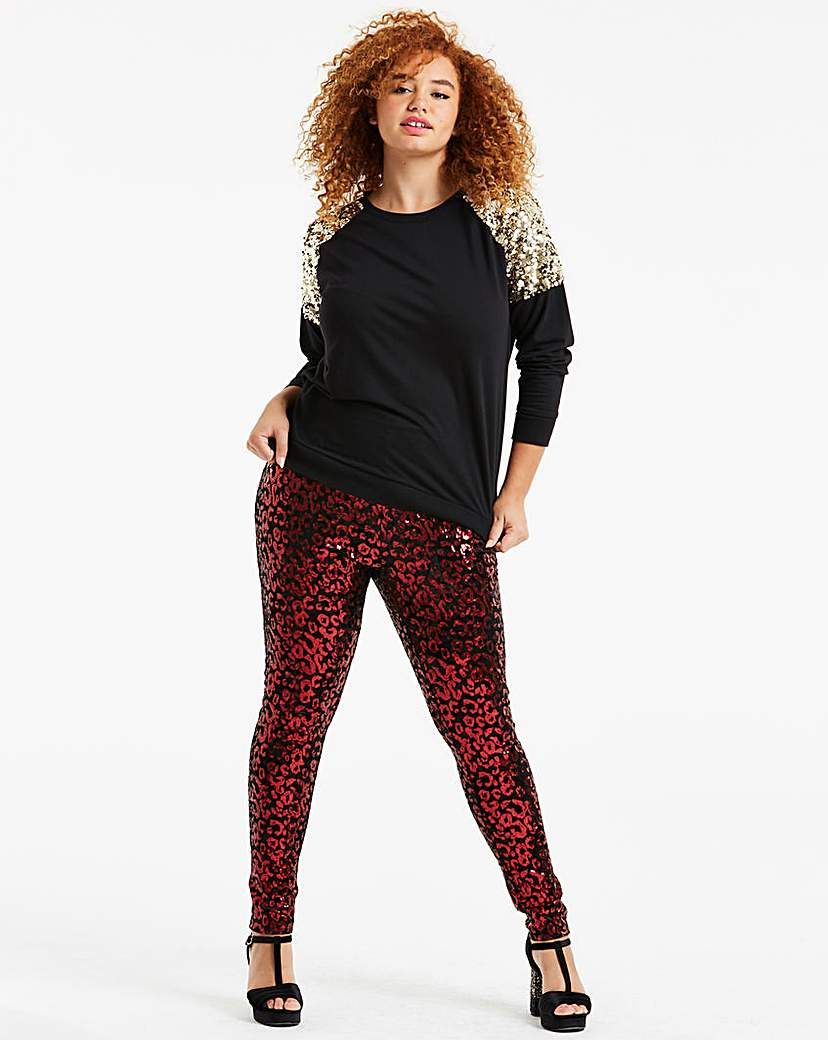 Black & Red Leopard Sequin Leggings