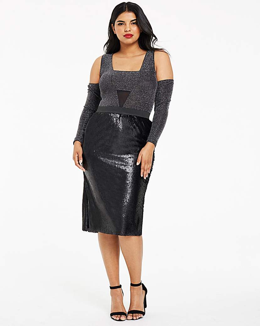 Capsule Black Sequin Pencil Midi Skirt