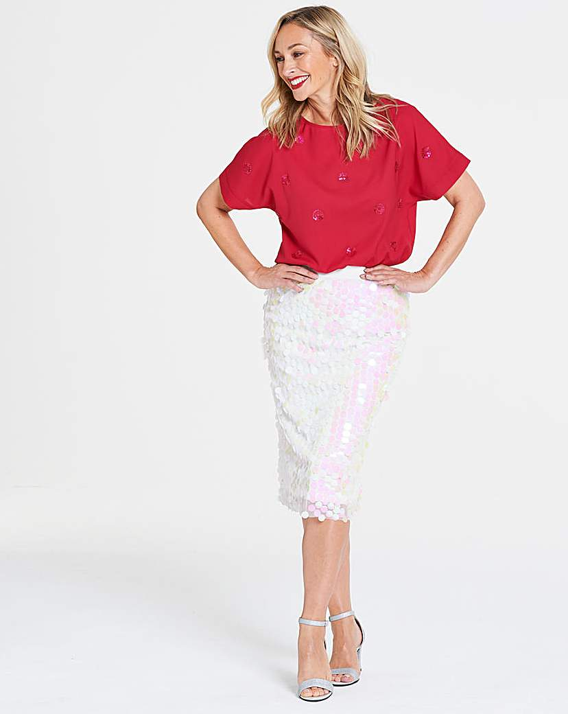 White Disc Sequin Pencil Skirt