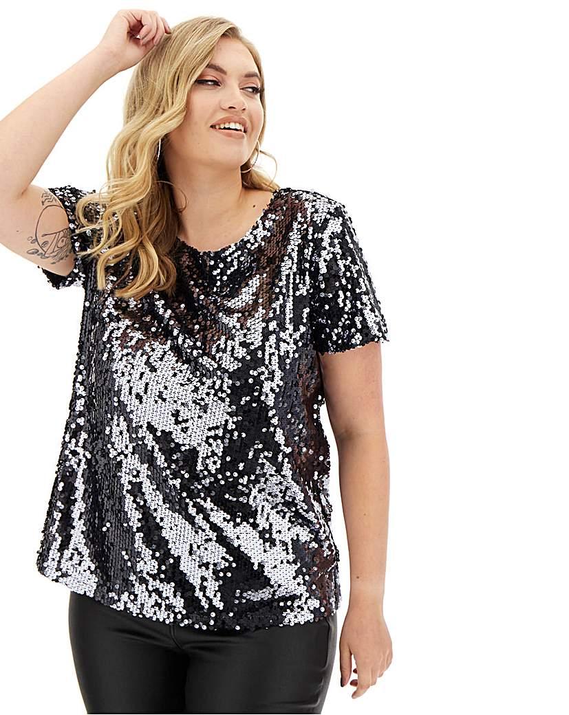 Capsule Pewter Sequin T-Shirt