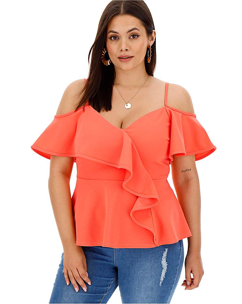 Coral Waterfall Peplum Cold Shoulder Top