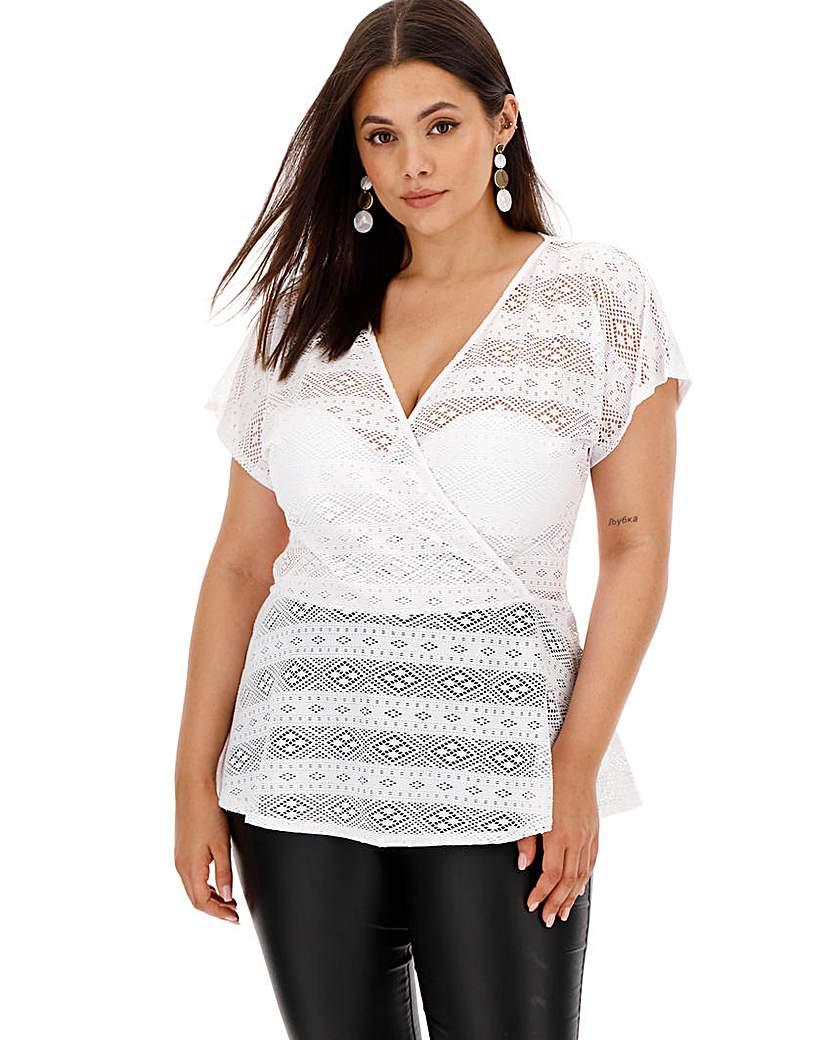 White Crochet Wrap Top