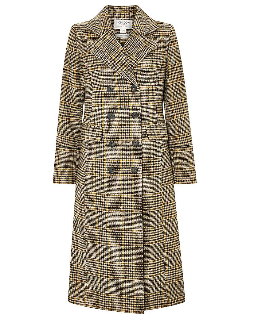 1930s Style Coats, Jackets | Art Deco Outerwear Monsoon Anika Check Maxi Coat £160.00 AT vintagedancer.com