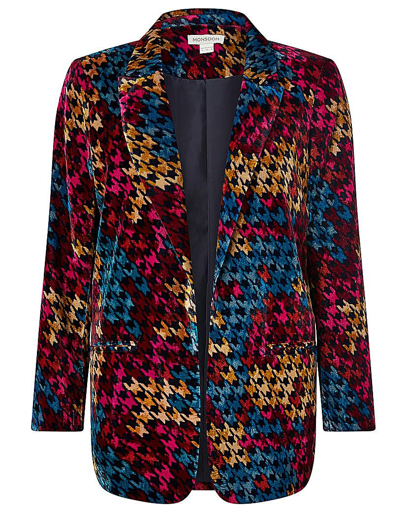 Monsoon Hazel Houndstooth Velvet Jacket