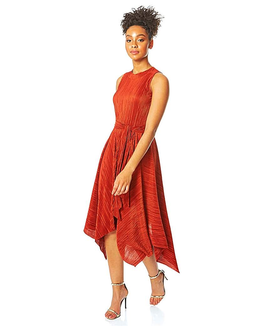 Roman Plisse Hanky Hem Midi Dress