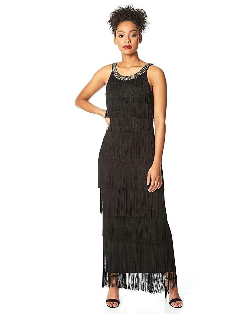 Vintage 1920s Dresses – Where to Buy Roman Sequin Neckband Fringe Maxi Dress £70.00 AT vintagedancer.com