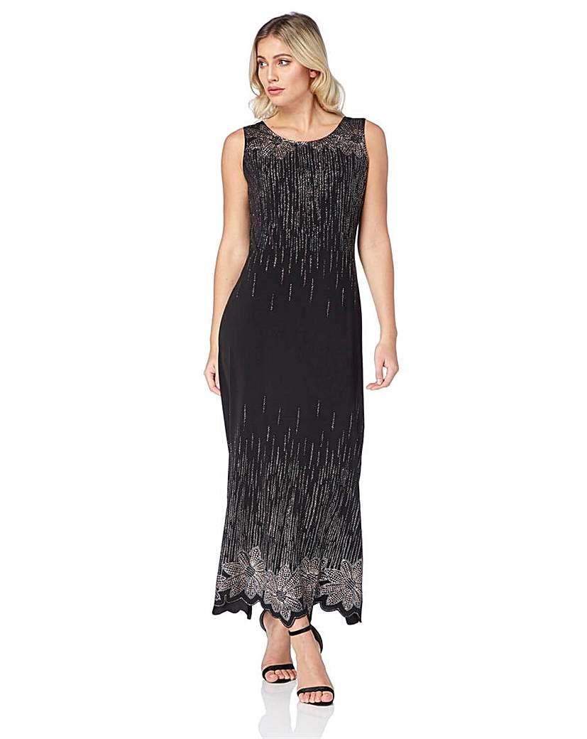 Vintage 1920s Dresses – Where to Buy Roman Glitter Detail Floral Maxi Dress £60.00 AT vintagedancer.com
