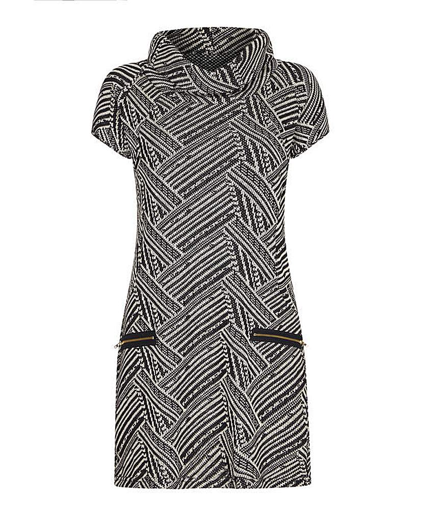 Mela London Curve Cowl Neck Zip Dress