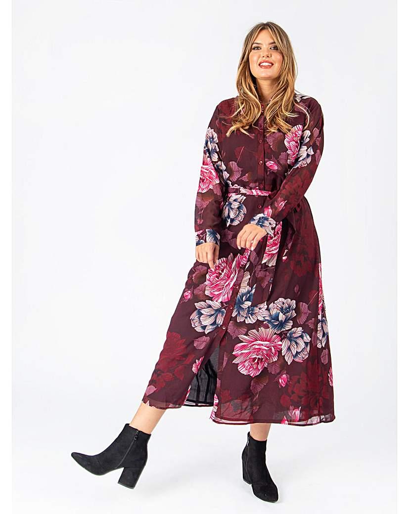 Koko Burgundy Floral Maxi Shirt Dress