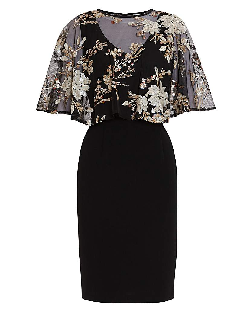 Gina Bacconi Coranne Sequin Cape Dress