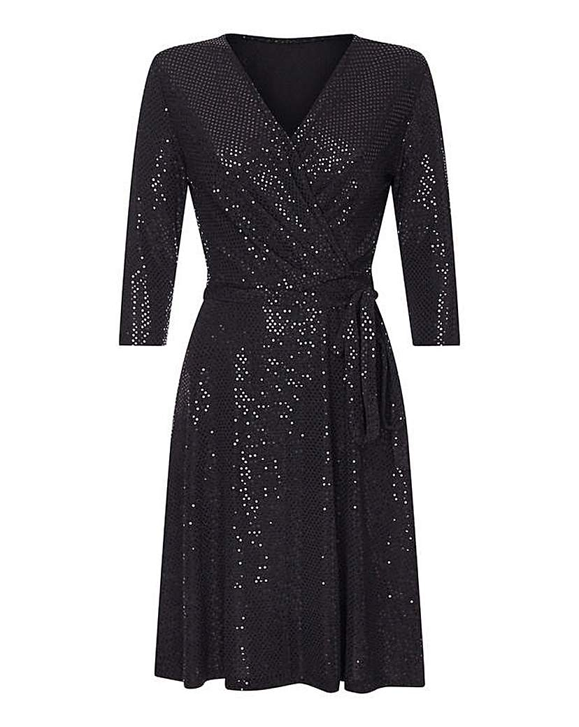 Yumi Curves Wrap Sequin Dress