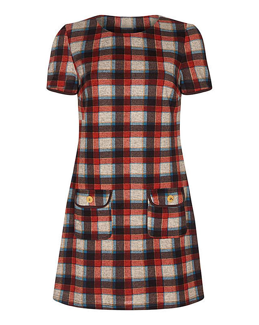 Yumi Curves Check Tunic With Button Deta