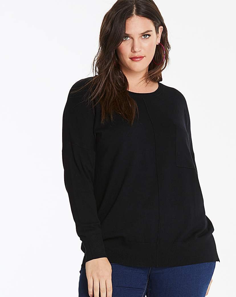 Capsule Black Boxy Jumper with Pocket Detail