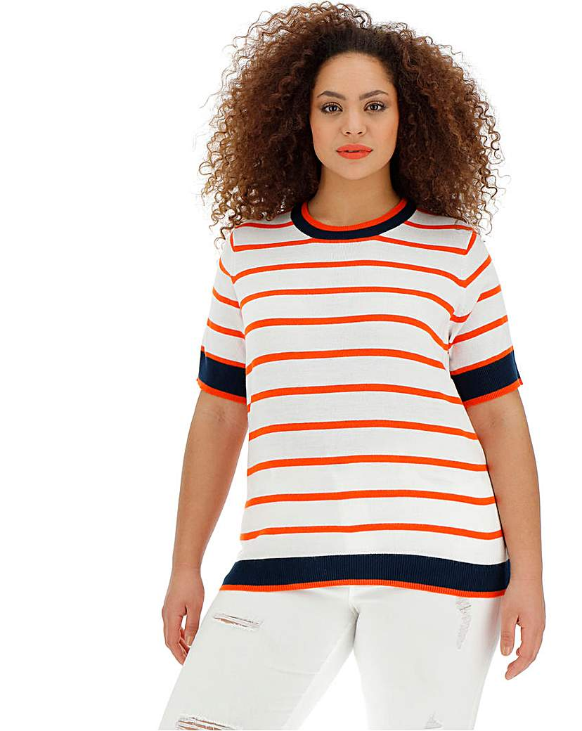 Orange Stripe Short Sleeve Jumper