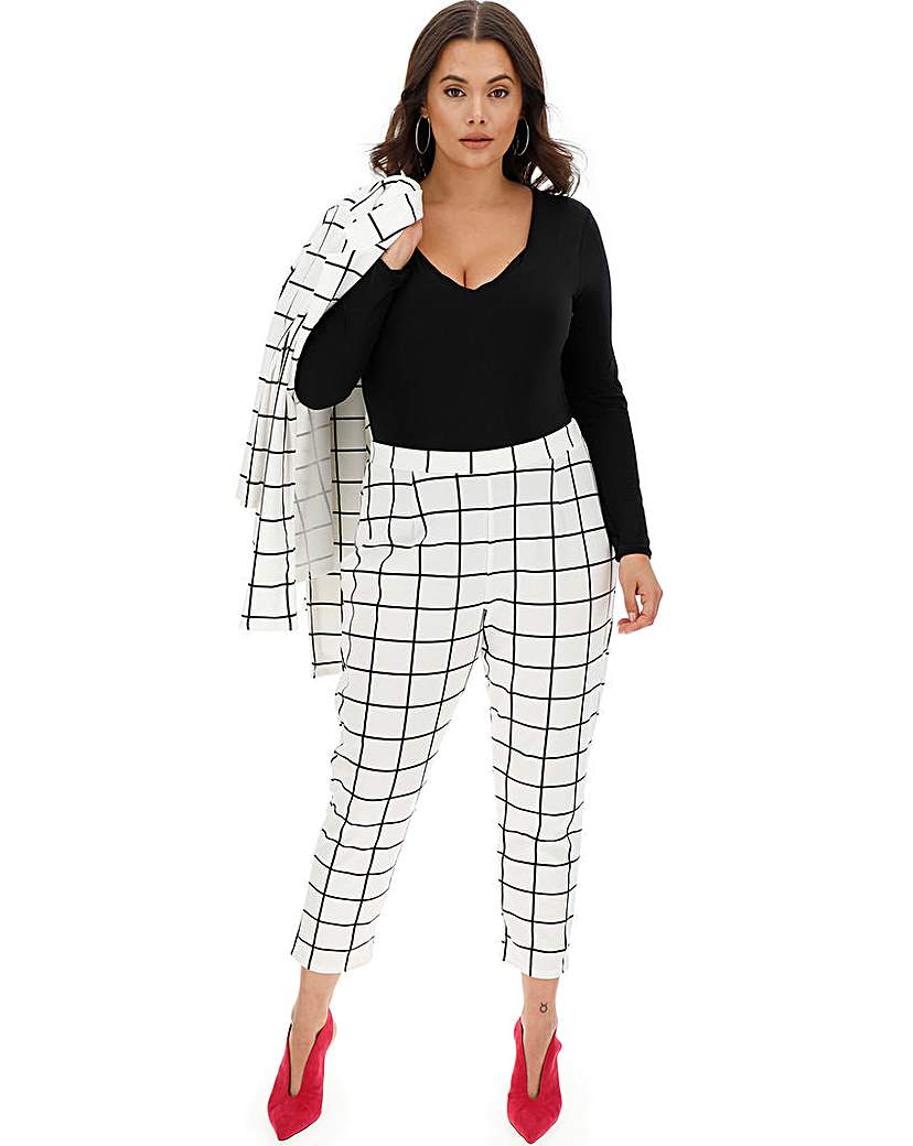 Grid Check Print Tapered Trousers