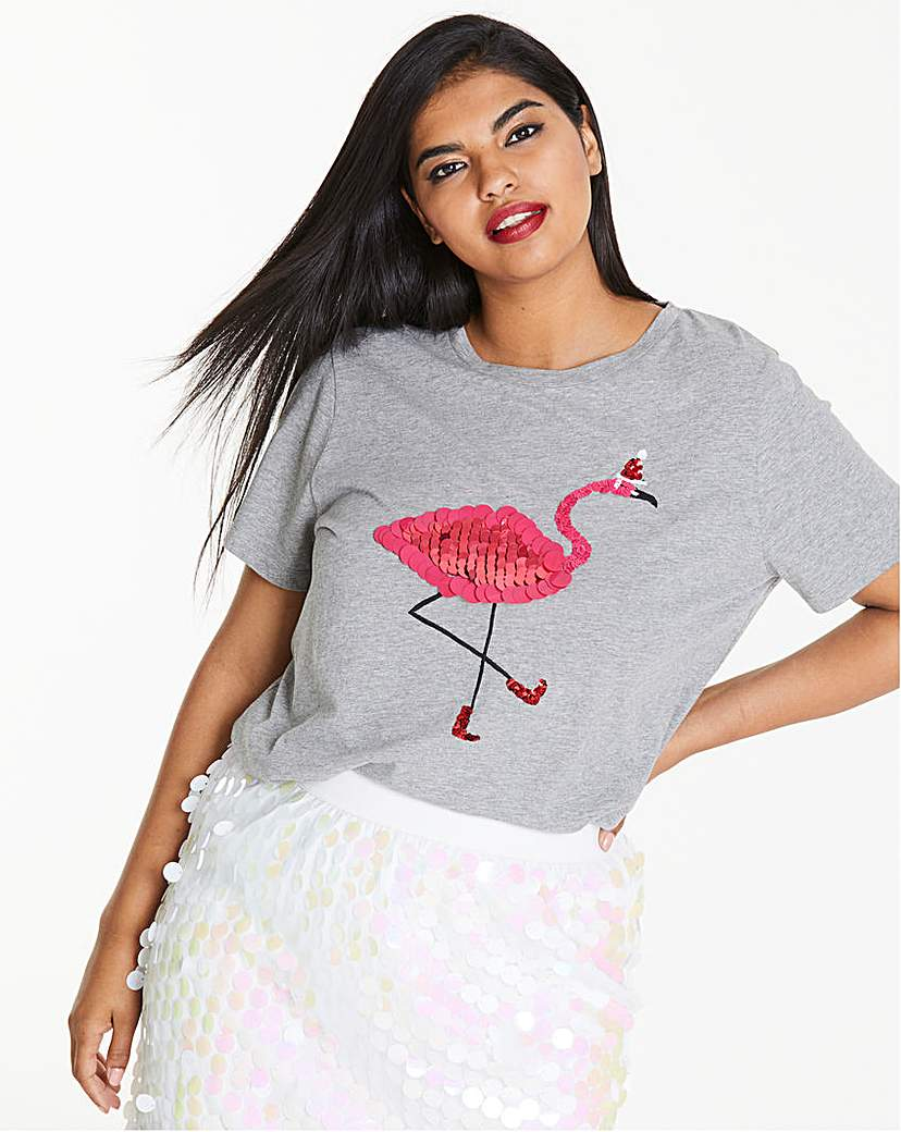 Sequin Flamingo Christmas T-Shirt