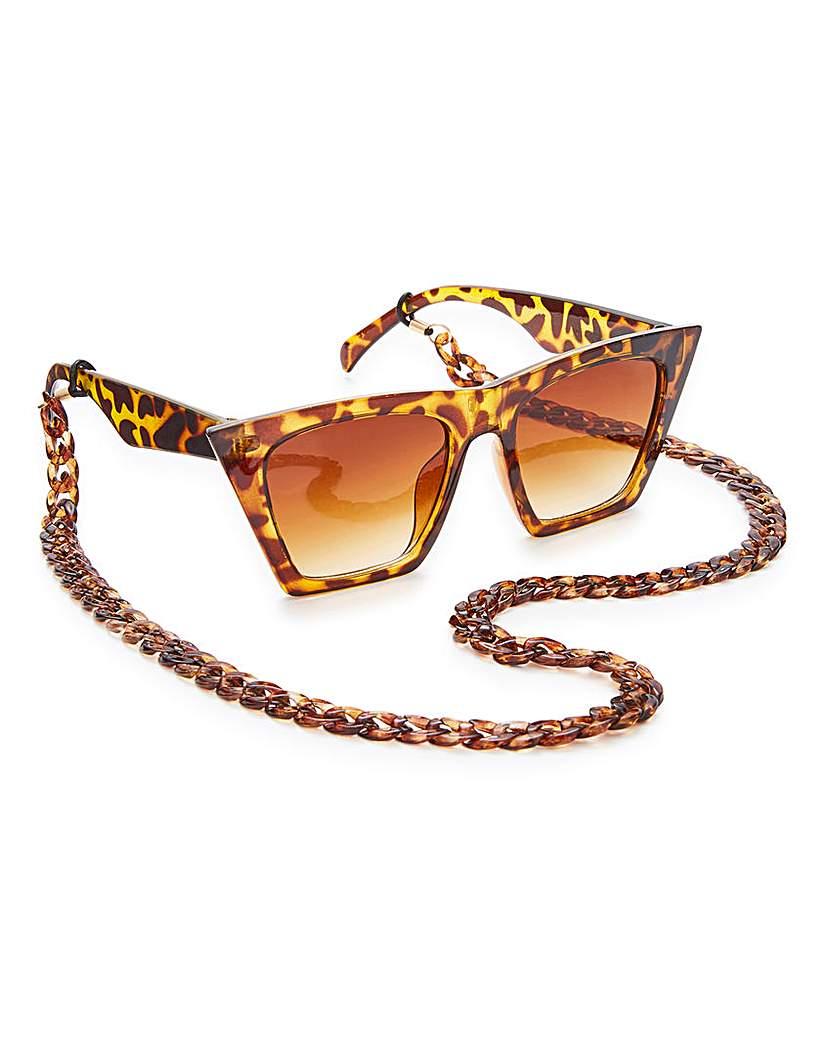 Glamorous Glamorous Tort Chain Sunglasses