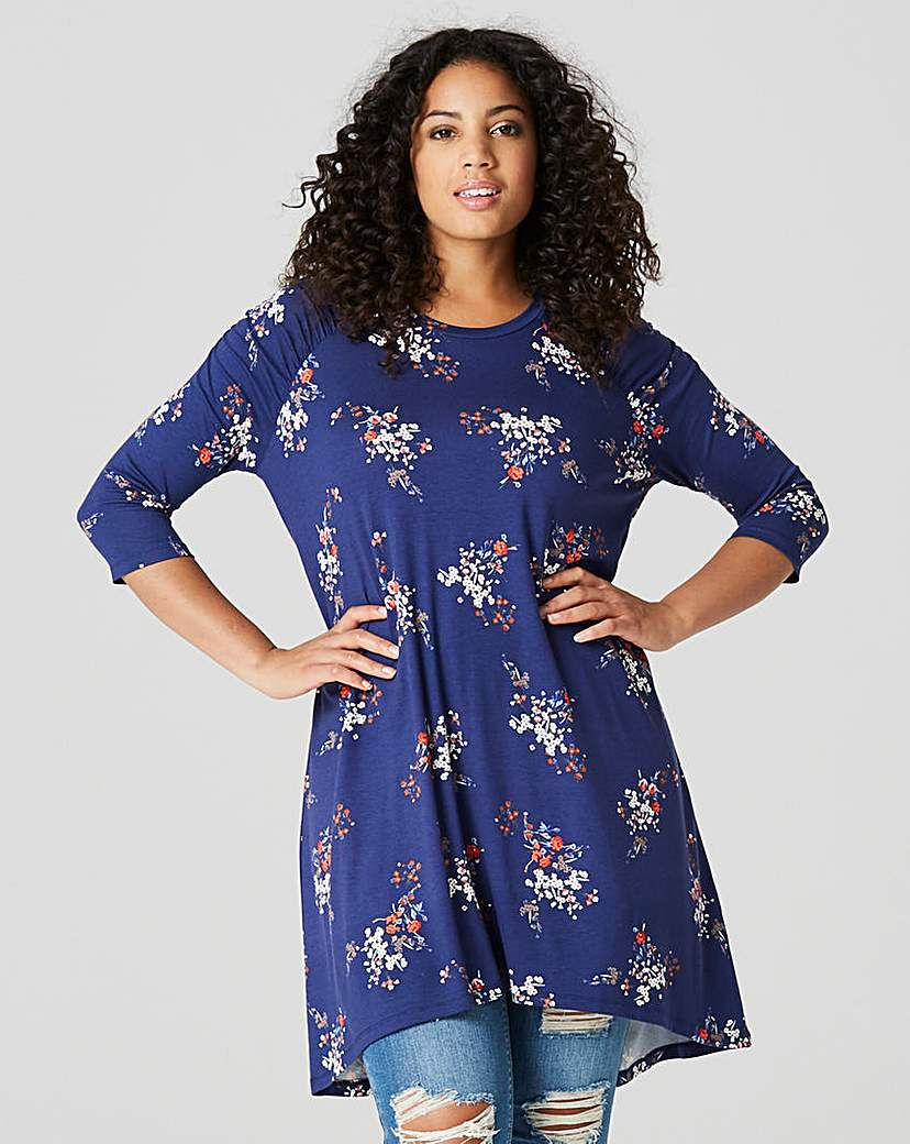 Capsule Navy Floral Ruched Shoulder Tunic