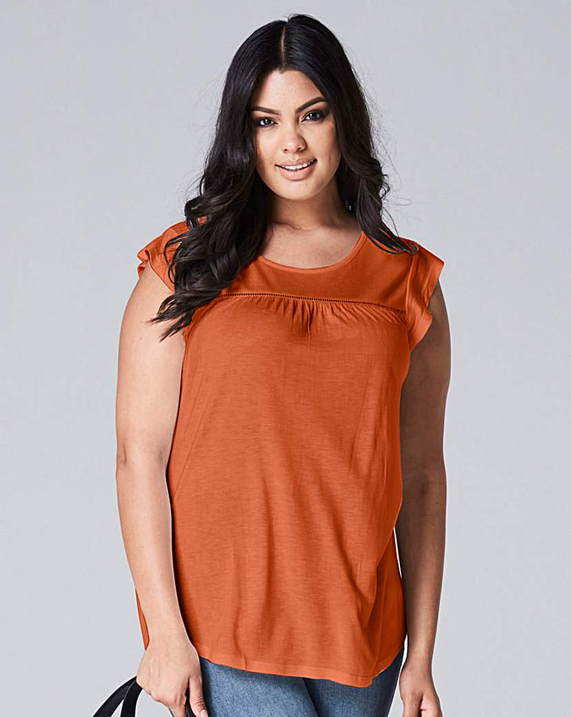 Capsule Terracotta Frill Sleeve Ladder Trim Top