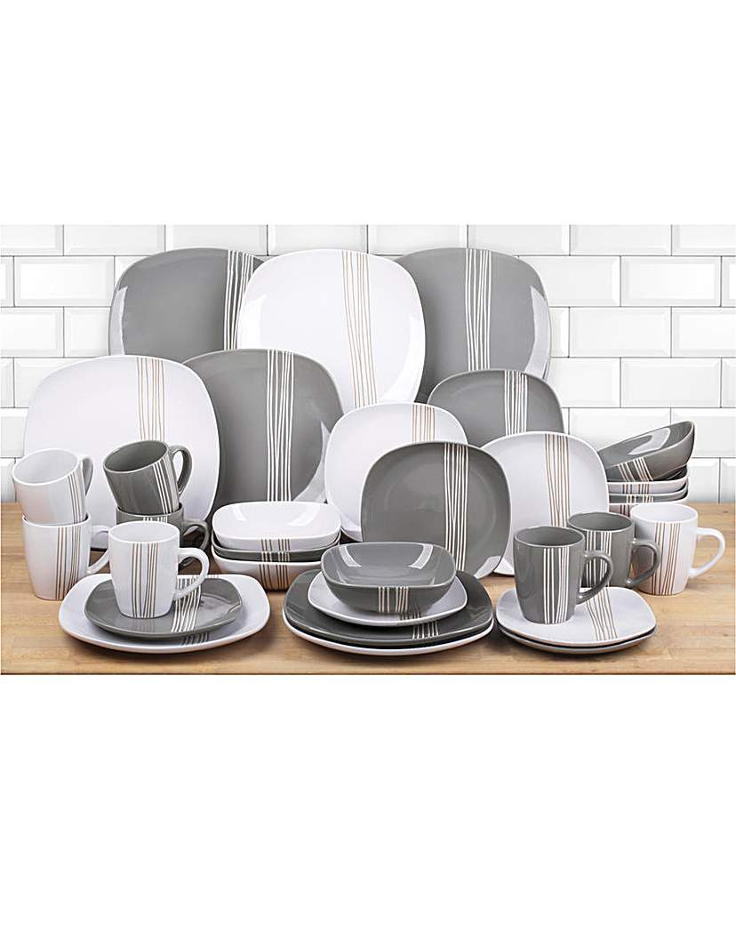 Image of 32 Piece Mimi Grey and White Dinner Set