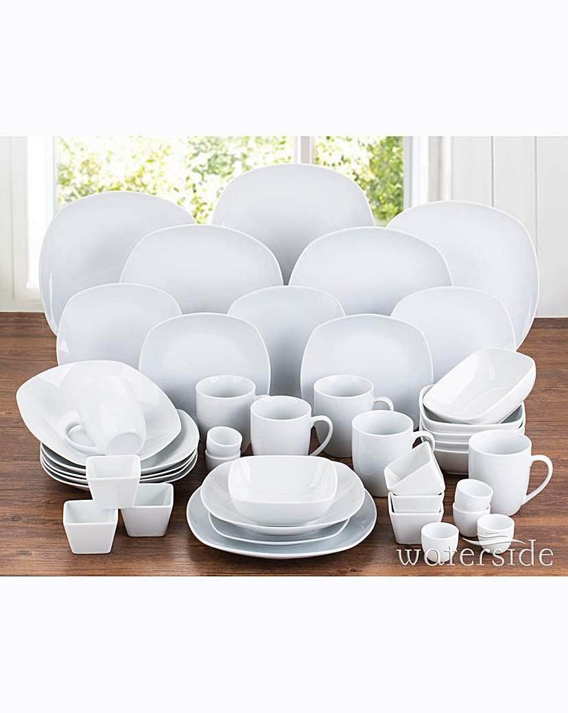 Image of 42 Piece Simply White Square Dinner Set