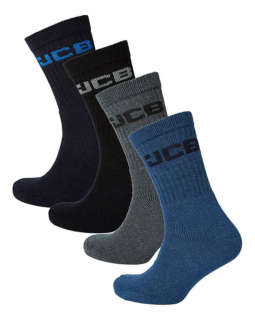 21834719079 JCB Pack of 4 Crew Logo Socks