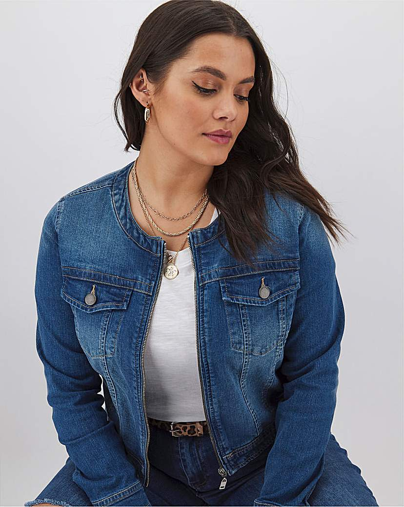 Capsule Blue Collarless Zip Front Denim Jacket