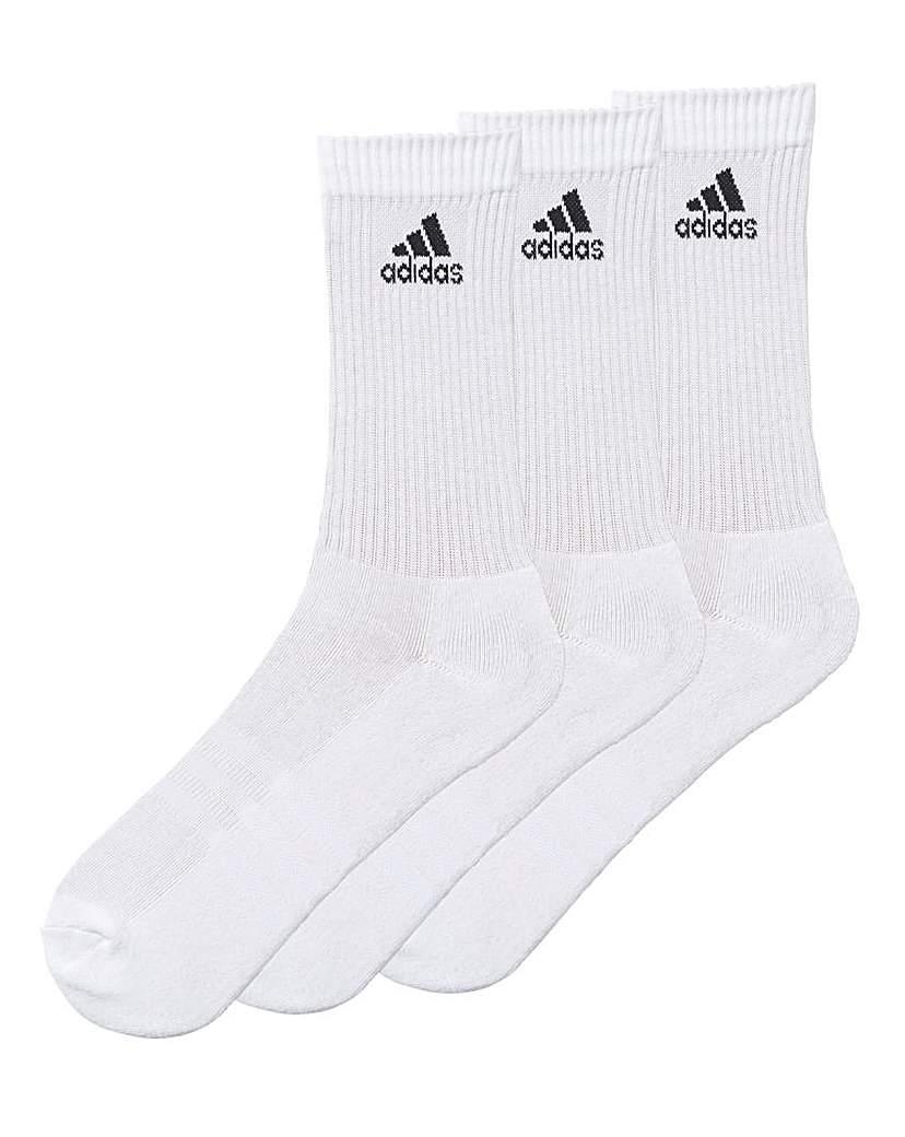 adidas Pack of 3 White Crew Socks