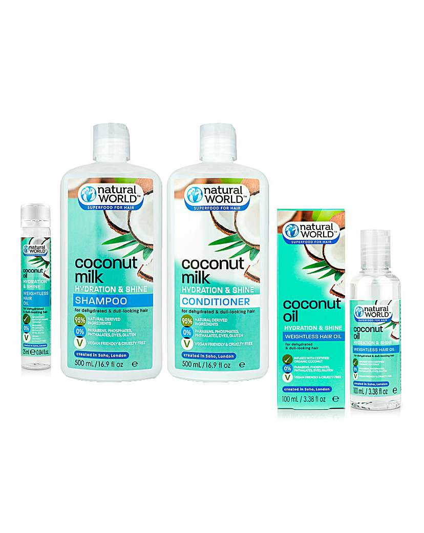 Natural World Coconut Milk Complete Hair Care Set