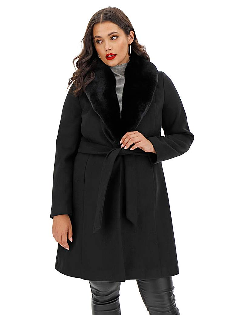 Capsule Black Belted Coat with Detachable Collar