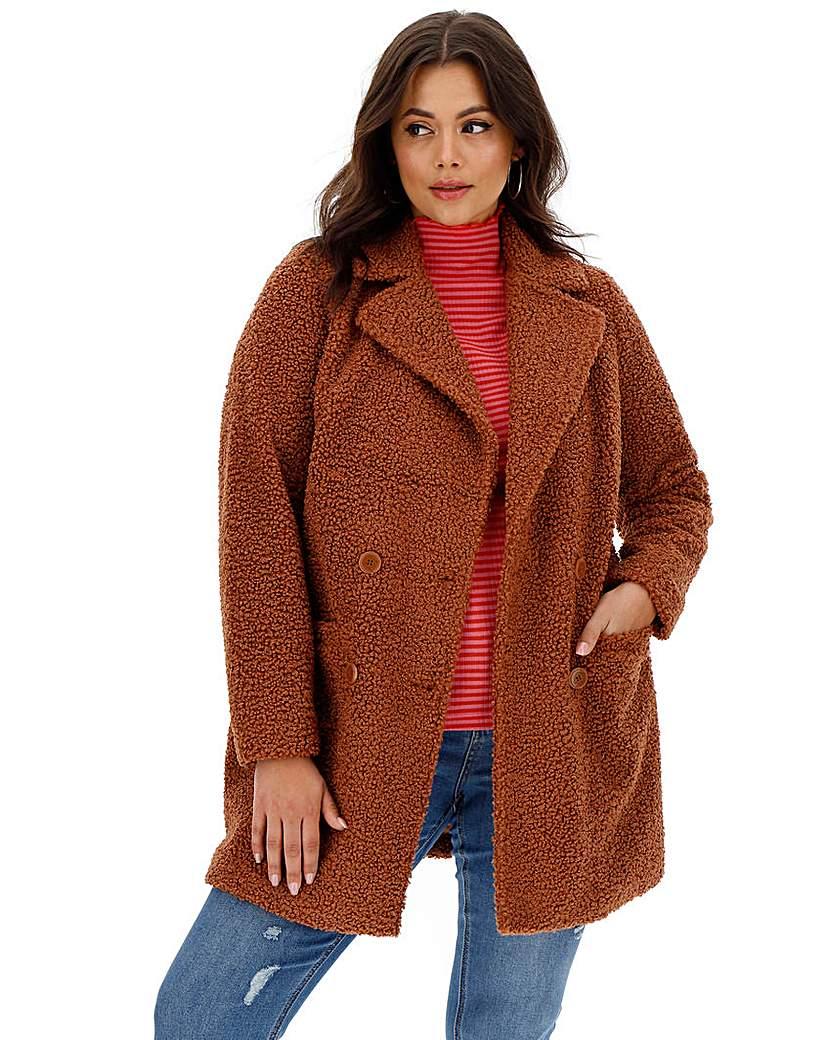 Capsule Rust Teddy Faux Fur Coat