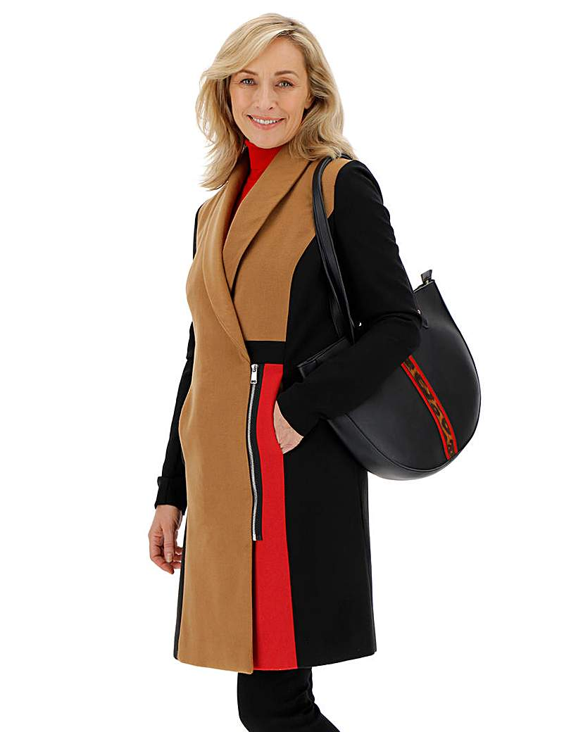 JD Williams Colour Block Coat with Ponte Sleeve