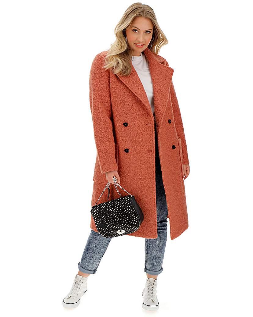 Capsule Rust Double Breasted Longline Teddy Coat